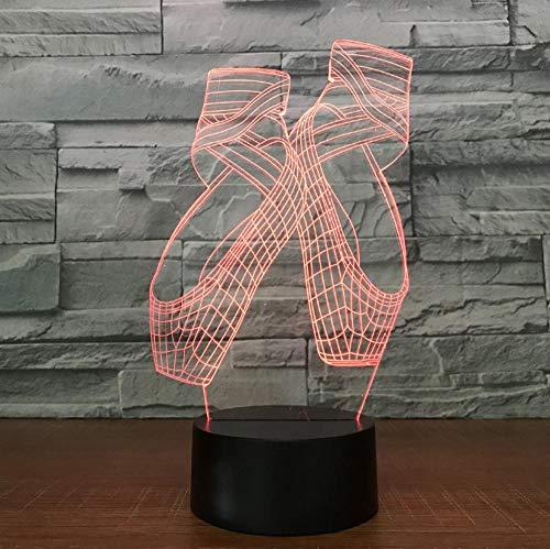 SFALHX Luce notturna 3D tocco Lampada da tavolo a LED Scarpe da ballo 7 cambia colore touch interruttore decorazione da tavolo lampade regalo di Natale con base in ABS e acrilico piatto