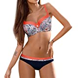 KEERADS BIKINI Damen Set Push Up Swimsuits Strand Badeanzug Badebekleidung Bademode (M, Orange-A)
