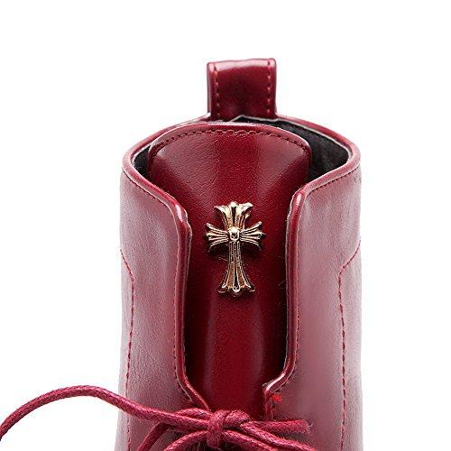 Voguezone009 Bottes Basses De Taille Basse De Fixation De Femmes Avec L'ornement De Claret En Métal