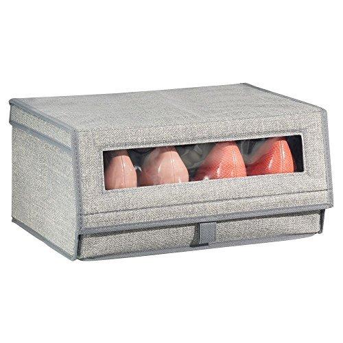 mDesign Schuhaufbewahrung aus Stoff (groß) - stapelbare Schuhbox mit Sichtfenster, Klettverschluss und Klappdeckel - praktische Aufbewahrungsbox im Schrank oder Regal - Grau - Einzelpack