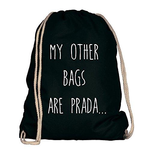 Shirtdepartment® Turnbeutel/Sportbeutel mit vielen Sprüchen | Farbe: Schwarz-Weiss - My Other Bags Are Prada | Jutebeutel | Rucksack | Gymsack | Stringbag | Hipster | Lustige Motive | Spruch