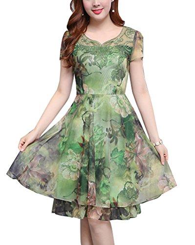 Damen Chiffon Kleider Sommerkleider Kurzarm Blumenkleider Abendkleid Partykleider Knielang Grün