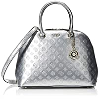 GUESS Peony Shine Large Dome Satchel, Silver