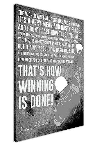 CANVAS IT UP Schwarz und Weiß berühmten Rocky Balboa Film Zitat gerahmtes Leinwandbild, Kunstdruck Boxen Sport Bilder Größe: 101,6x 76,2cm (101x 76cm)