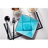 HOOM-7 placas planas de vajilla de cerámica del plato de home creative frutero decorado plato grande,placa cuadrada-azul (7)
