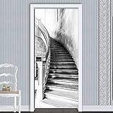 XXXCH 3D Türaufkleber 80X200CM Schwarz-Weiß-Treppe Türtapete selbstklebend TürPoster - Fototapete Türfolie Poster Tapete Meer Aufkleber DIY Selbstklebende Wandbild PVC Wasserdichte Tapete