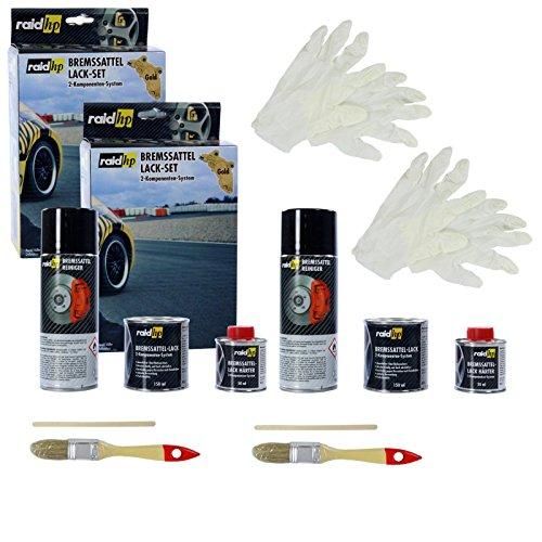 Preisvergleich Produktbild 2x raid hp Bremssattellack Bremssattel Lack Bremsenlack Bremssattelfarbe Bremssattel Farbe 6-teilig gold-metallic