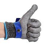 QETU Handschuhe aus Rostfreiem Stahl, Schnittschutzhandschuhe - Handschuhe aus Metall, Handschuhe, Schnittschutzhandschuhe (L-Code) 2-Teilig,Bluebuckle