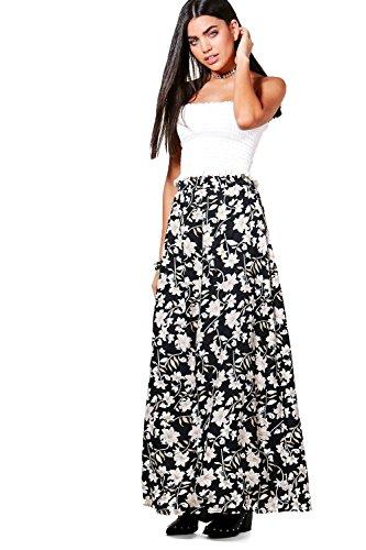 Damen Multi Jorga Bodenlanger Maxirock Mit Dunklem Blumen-print Multi