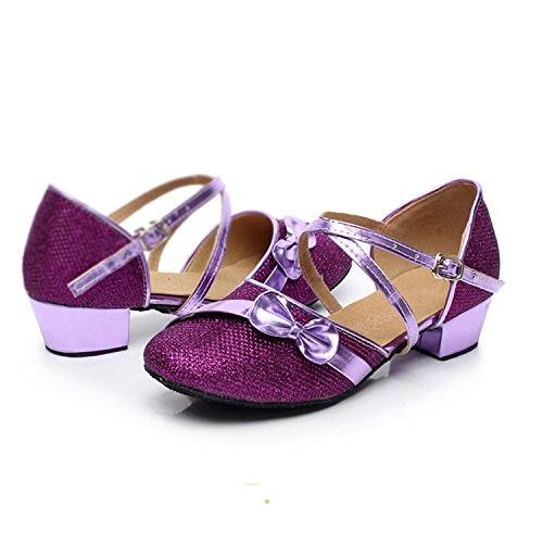 Oasap Gril's Bow Cross Strap Latin Dance Shoes Purple 9PaLyHne3A
