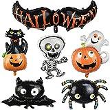 Miss Good Halloween Ballon Set Fledermaus Halloween, Spinne, Fledermaus, Kürbisgeist , Totenkopf Mann, Kürbis Katze Folienballon für Halloween Bar Home Decoration Supplies 6er Pack (Big Size)