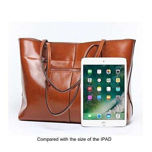 Yoome Borsa da donna vintage in vera pelle di tote borse a tracolla morbida borsa a tracolla messenger borsa hobo - blu arancia