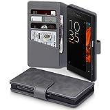 Sony Xperia XZ / XZs Cover, Terrapin [ECHT LEDER] Brieftasche Case Hülle mit Kartenfächer und Bargeld für Sony Xperia XZ / XZs Hülle Grau