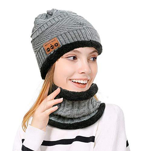 MZ026 Bluetooth Mütze Bluetooth Beanie Musik Hat Schal Winddicht und Snowproof Headset Musik Kopfbedeckungen Cap für den Winter Outdoor-Sport Laufen, Skifahren, Skaten, Wandern, Camping (Grau)