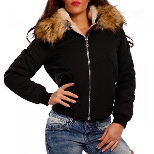 Young-Fashion - Blouson - Blouson - Uni - Manches Longues - Femme Schwarz/Beige Muster 2