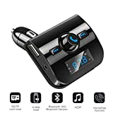 ZYX Auto MP3 Player Bluetooth Freisprecheinrichtung Wireless Bluetooth FM Transmitter Audio Modulator LCD Bildschirm USB Ladegerät TF Slot,Black