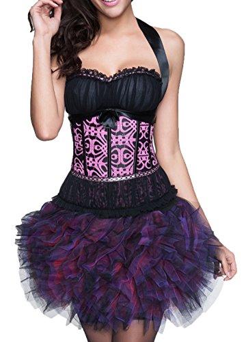 r-dessous sexy Corsagenkleid Corsage + Rock Mini Kleid schwarz kurz Cocktailkleid Partykleid Abendkleid Tutu Groesse: S (Bustier Kleid Mini)