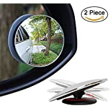 SBE HD Glass Convex Rear View Blind Spot Mirror with 360° Rotatable + 30° Sway, Adjustable Wide Angle Rear View for All Cars (2pcs)