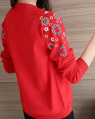 Lungo Cardigan Donna con Cappuccio Invernale Elegante Maglioni Coat Parka Rosso