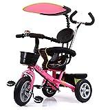 Kinderwagen 4-in-1-Dreirad 12 Monate bis 5 Jahre Abnehmbare Schirmüberdachung 2-Punkt-Sicherheitsgurt Vielseitige Kinder-Trikes Klappbare Fußstützen Hinterrad mit Bremse Dreirad für...