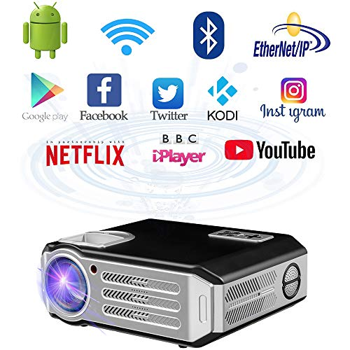 WiFi proyector 1080p Full HD WiFi Proyector (4800lumens proyector LED Cine Video Proyector casa Cine Android proyector HD3D HD TV