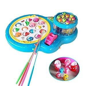 Fajiabao Giochi Elettronici Gioco della Pesca Pesci con 2 Piastra Giocattoli Musicali per Bambini su 3 Anni, Colore Blu