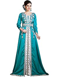 Palas moda donna marocchino partito Wear Handmade Kaftan see verde scuro e  bianco 01c0f507c7b