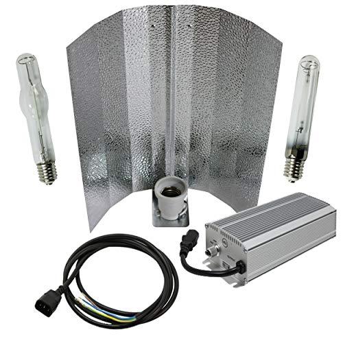 Cultivalley 600W Grow-Set, Premium Profi Pflanzenbeleuchtung, 400W - 660W Dimbar Bausatz mit NDL Natriumhochdruck-Leuchtmittel HPS für die Blüte & Halogen-Metalldampflampe MH Wuchslicht, Pflanzenlicht