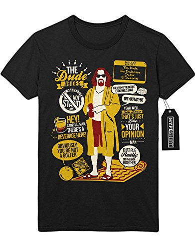 T-Shirt The Dude Abides Quotes Big Lebowski C112270 Schwarz (Big Lebowski Kostüme The Dude)
