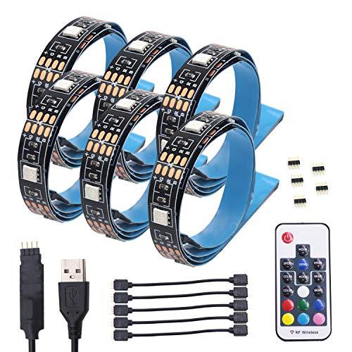 LED TV Hintergrundbeleuchtung, USB-Bais-Beleuchtung RGB-LED-Streifen mit Thermo-Klebeband und 17Key RF-Fernbedienung für HDTV, PC-Monitor (6 x 50 cm LED-Streifen)