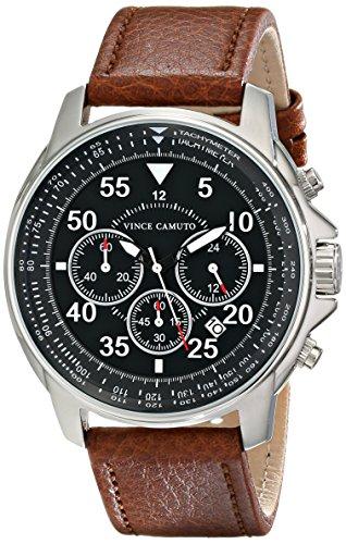 Vince Camuto - VC/1070BKSV - Montre Mixte - Quartz - Analogique - Bracelet Cuir marron