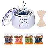 Chauffe-Cire Kit Professionnel 500ml, Wax Warmer pour Épilation à la Cire, 20 Pcs Wax Spatules, 4 paquet de haricots cires durs (Lavande/Rose/Aloe/Camomille)