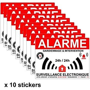 Lot De 8 Autocollants Dissuasifs Alarme Vidéo Surveillance