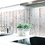 Küchenrückwand Bretterwand Hell Premium Hart-PVC 0,4 mm selbstklebend 340x60cm