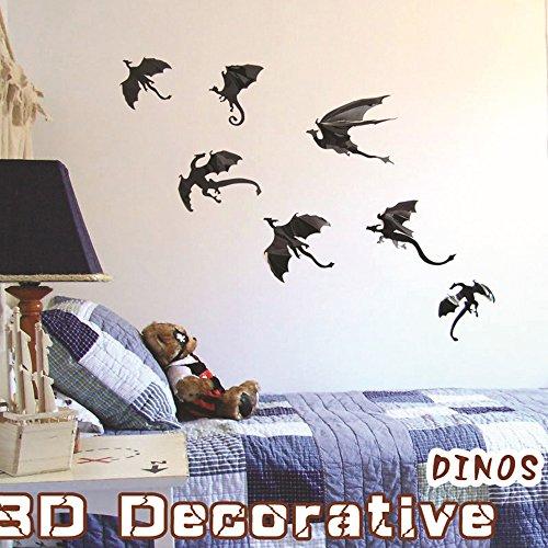 Halloween Ideen Spuk Haus (Set 7 Stück verschiedenen Größe 16cm 3D Fledermäuse PVC entfernbare Wandtattoo Wanddekoration Wandaufkleber für Halloween Kinderzimmer Schlafzimmer DIY)