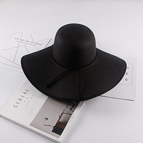 situmi-ladies-sun-hat-summer-straw-hat-floppy-foldable-wide-edge-beach-cap-black