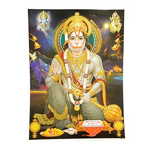 Bild Hanuman 30 x 40 cm Gottheit Hinduismus Kunstdruck Plakat Poster Gold Religion Spiritualität Dekoration