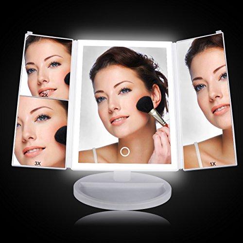 Schminkspiegel mit Licht, LASUAVY Beleuchteter Kosmetikspiegel 4 LED Licht - Kosmetikspiegel mit Licht Faltbare 180°Drehbarer Led Schminkspiegel Beleuchtet 38 Leuchtmittel beleuchteter spiegel Touchscreen - kosmetik Geschenke für Frauen