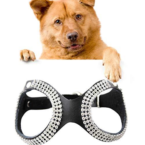 KANEED Hundehalsbänder, Geschirre, Strass Leder Brille Style Breathable Dog Brustgurt, Größe: M (Schwarz) (Farbe : Black)