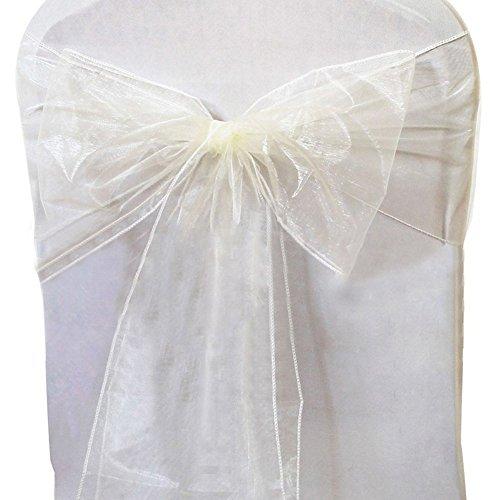 Distinct® 2pcs Organza-Stuhl-Abdeckung Schärpe-Bogen-Hochzeitsfest -Rezeption Bankett-Dekor (weiß) -