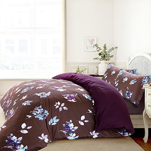 Nimsay Home Shadow Floral Leaf Chocolate Plum Soft Touch 100% Pure Cotton Satin Sateen Non-Iron Duvet Cover Bedding Set (Single)