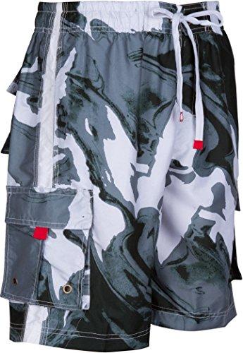 LA018113B - Herren vielfarbig Wellen Muster Schlittschuh wellenreiterbrett kurz/ schwimmen Badehose - Schwarz / X-Large (Kleidung Designer Rabatt Herren)
