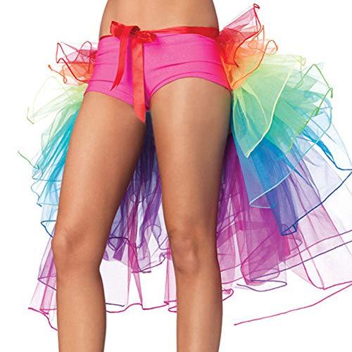 Rainbow Tutu Layered Tanzen Long Tail Bustle Skirt mit Schleife Multicolor ()