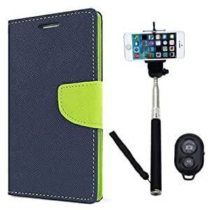 Aart Fancy Diary Card Wallet Flip Case Back Cover For Mircomax A116 - (Blue) + Remote Aux Wired Fashionable Selfie Stick Compatible for all Mobiles Phones By Aart Store