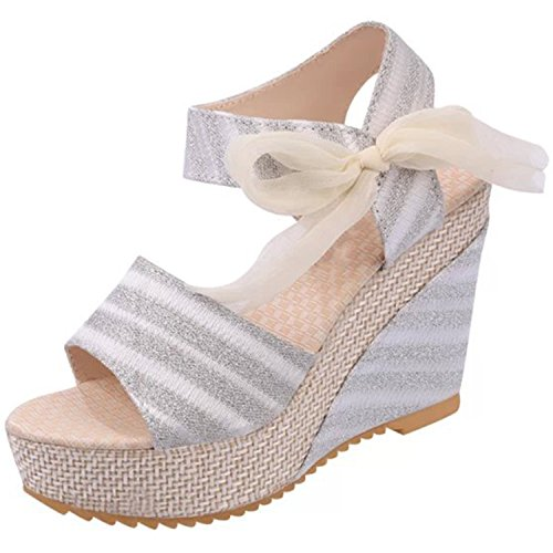 Women's Bow Wedge White Peep Sandals Stripe Heels Toe Azbro UTn7wvZqq