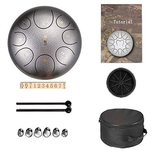 12 Pollici Steel Tongue Drum Tamburo a Mano 8 Toni Strumento a Percussione con Drum Mallets Carry Bag Note Sticks per Meditazione Yoga,E