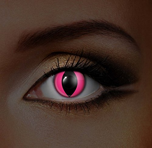 Funky Vision Kontaktlinsen I-Glow - 12 Monatslinsen, Pink Cat UV, Ohne Sehstärke, 2 Stück