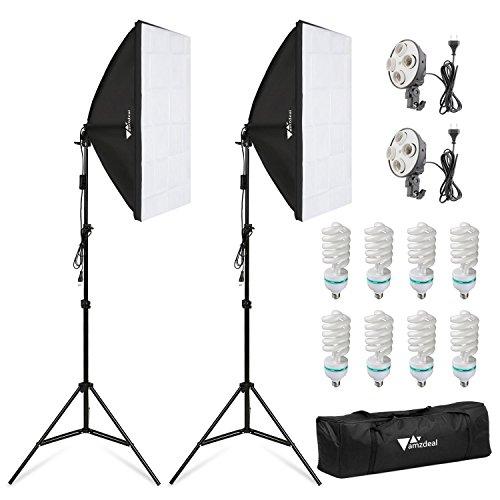 Amzdeal Softbox Set Fotostudio Studioleuchte Set inkl. 2 x 50x70cm Fotostudio Softboxen 5500K Tageslicht 8 x 135W + 2 x Lampenhalter Fotolampe + 2 x Faltbare Lampenstativ + 1 xHandlicheTasche
