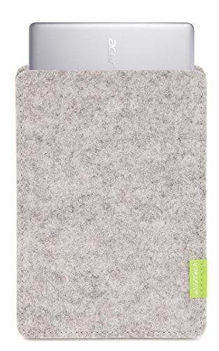 WildTech Sleeve für Acer Chromebook 14 (CB3-431-C6UD) Hülle Tasche aus echtem Wollfilz - 17 Farben (Handmade in Germany) - Hellgrau