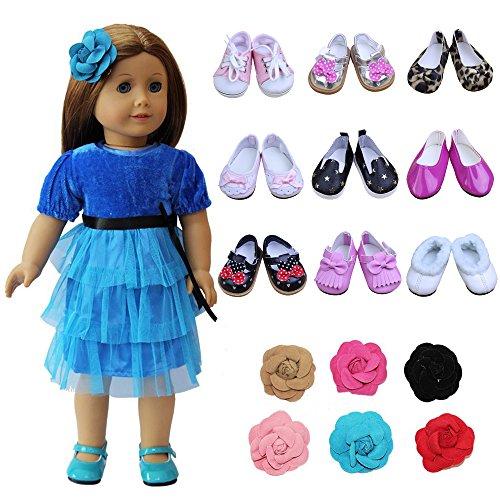 ZITA ELEMENT Mädchen 5 Paare Puppe Schuhe 1er Haarschmuck Zubehör für Barbie Puppen American Girl Doll 45-46cm Puppen, My Life Doll, unsere Generation und andere 18 Zoll Puppen-zufällig Auswahlen (Für Hochzeit Puppen Kleid Zoll 18)